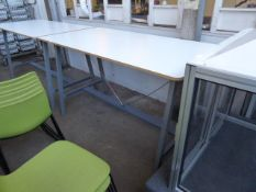 180cm x 90cm Senator high level table with a white top and anthracite powder coated metal and wooden