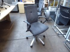 Fritz Hansen model 2/3M designer Vogtherr grey suede swivel armchair