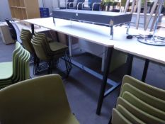 240cm x 90cm Senator high level table with a white top and anthracite powder coated metal and wooden