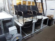 A set of 6 Dauphin black mesh and black cloth chrome frame cantilever chairs