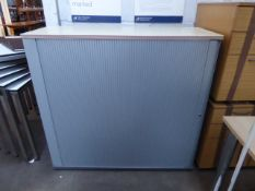 120cm maple top grey tambour stationery cabinet