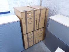 4 three drawer oak pedestals
