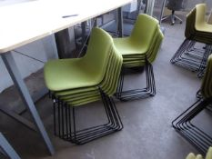 12 Fredericia Welling/Ludvik, item 4102, black framed green cloth stacking chairs