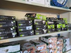Shelf containing Luceco LED floodlights with PIR sensors