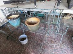 Large metal garden pot stand with middle section and 2 sides