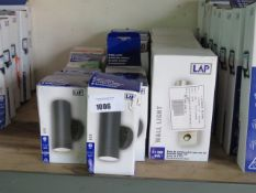 18 LED up and down style wall lights in mixed sizes and colours
