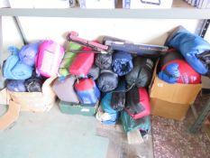 Bay containing outdoor sleeping bags
