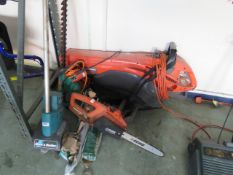 (14) Collection of mixed electrical garden items incl. chainsaw, blow vac, tiller and hedge trimmer