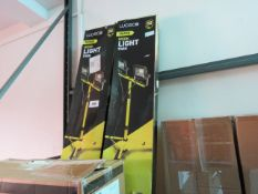 (1069) 2 boxed Luceco twin work lights on tripods