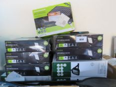 9 Luceco XL LED floodlights with PIR sensors