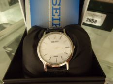 Black leather strap Seiko wristwatch with box and manual