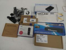 Bag containng Wavlink, 8 port video audio splitter, external CD drive, smart watch, BT 4G Assure