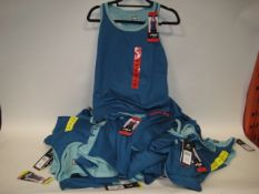 Bag containing 30 Fila ladies mesh overlay tank tops in blue and turquoise