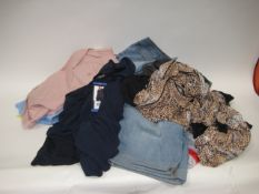 Bag containing ladies clothing to include tops, shorts, trousers and lounge wear in various sizes
