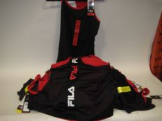 Bag containing 30 ladies Fila mesh overlay tank tops in black and red sizes S & M