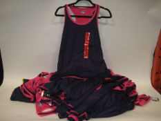Bag containing Ladies Fila mesh overlay tank tops in blue and pink sizes S & M