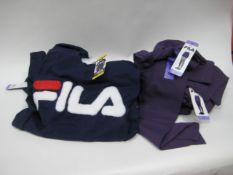 Bag containing 7 Fila t-shirts in blue and 11 pairs of Fila leggings in dotted grape sizes XS & S