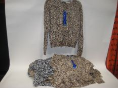 Bag of 26 June Perry knitted jersey buttoned ladies tops in animal print finish mainly sizes L & XL