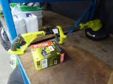 Ryobi battery powered strimmer with battery and charger