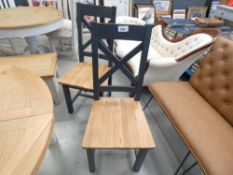 1006 2 Hampshire Blue Painted Oak Cross Back Chairs (75)