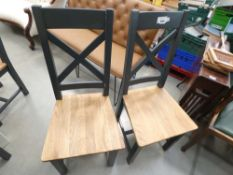 1090 2 x Hampshire Blue Painted Oak Dining Chair (11a)