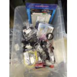 Box containing various IT and electrical sundries PC fans, power cables, replacement remote
