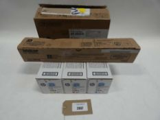Bag containing various toner cartridges; 3x HP 131A's and 2 others