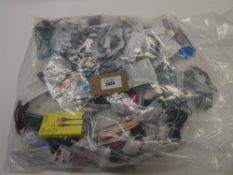 Bag containing quantity of mobile phone accessories; cables, adapters, earphones, lightning cables