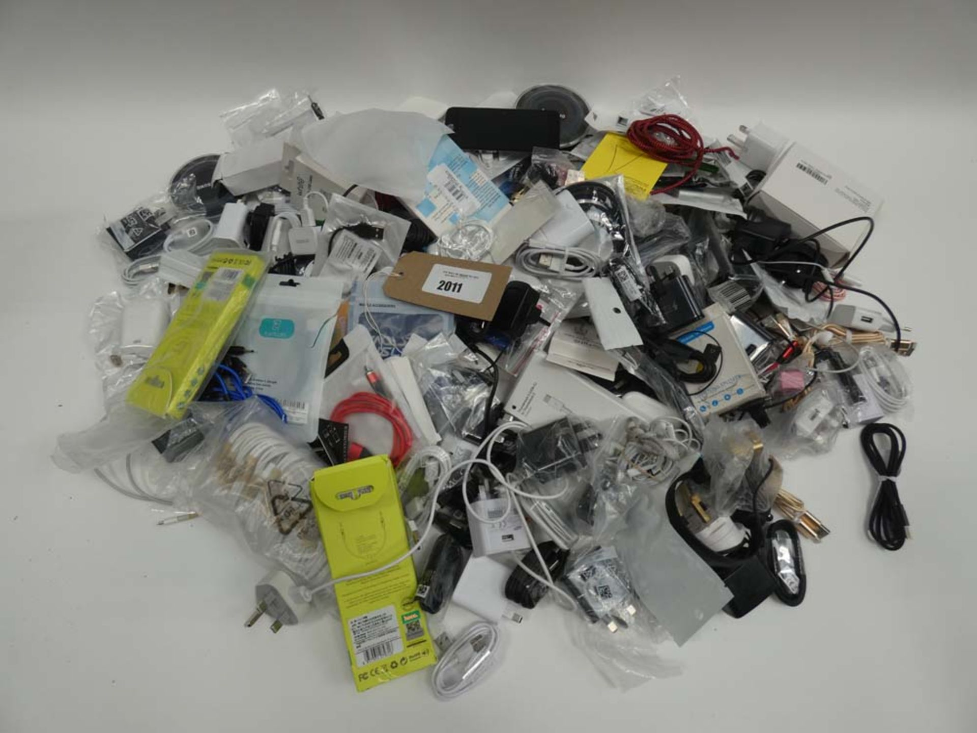 Bag containing various electronic charging cables