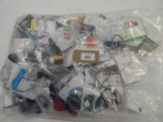 Bag containing quantity of mobile phone accessories; earphones, cables, leads, adapters etc
