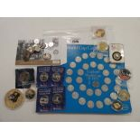 Consignment of various collectable and commemorative coins; 1970s World Cup Coin Collection, Queen