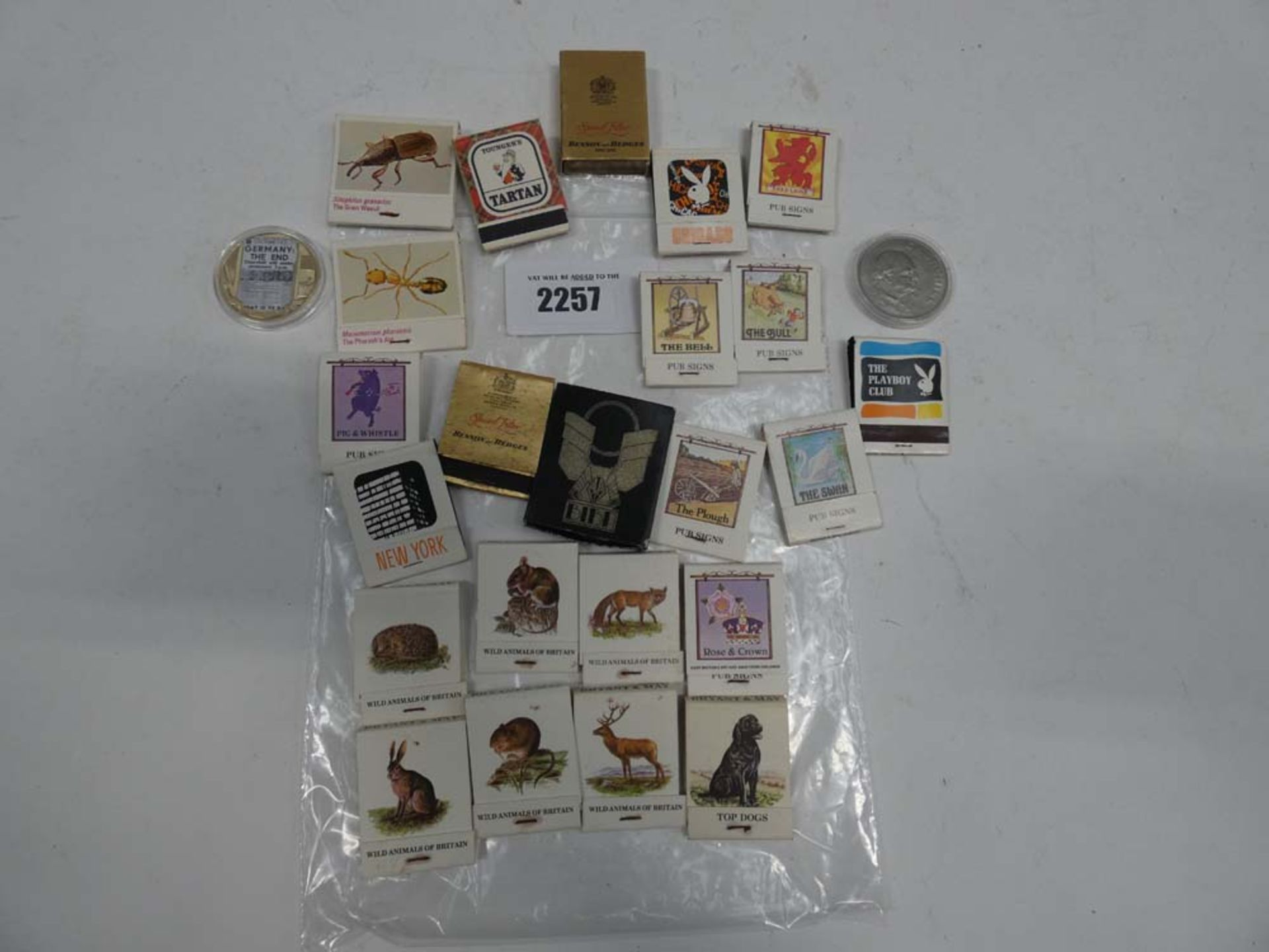 Quantity of collectable matches and 2 collectable coins; 1965 Churchill and Crown 2020 WWII