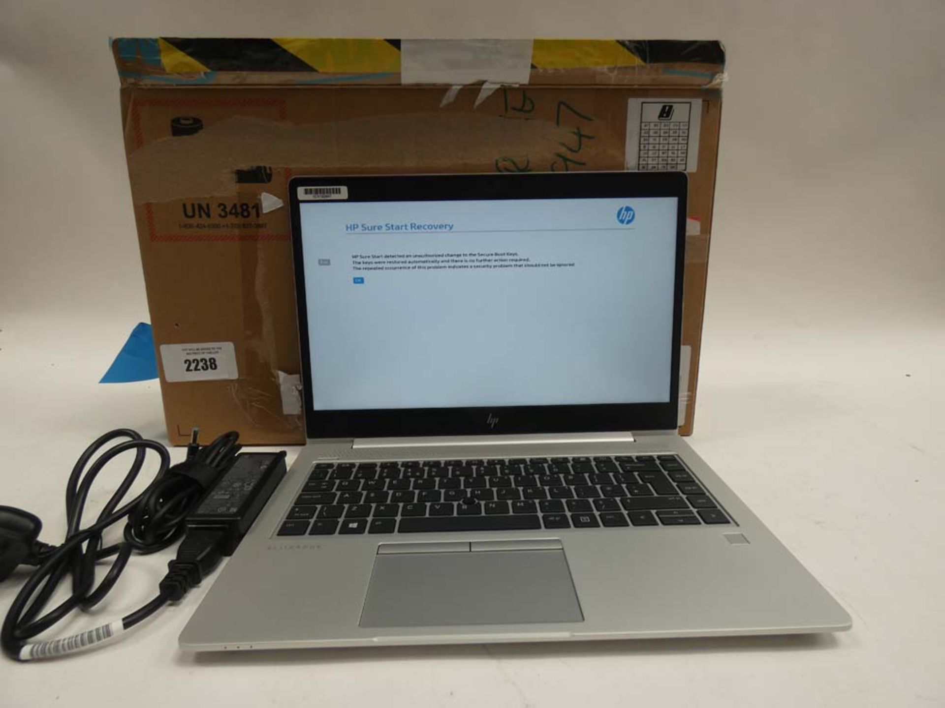 HP EliteBook 745 G5 laptop with box and PSU (a/f not recoverable, BIOS lock, HP Smart Lock, no HDD)