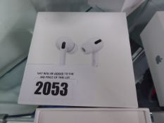 Apple Air Pods Pro with wireless charging case, spare ear tips and box