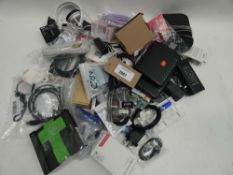 Bag containing various routers, cables, PSUs, adapters etc