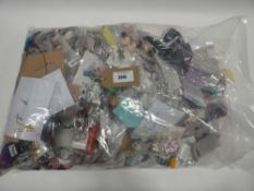 Bag containing quantity of loose costume and dress jewellery