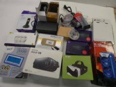 Bag containing VR headsets, BT 4G Assures, adapters, BT Everyday phone, LED strip lighting, mobile