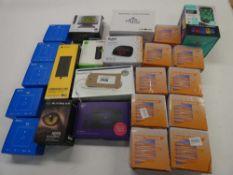Bag containing Bush alarm clock, Digital Thermostats, BT router, etc.