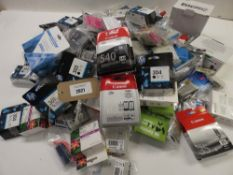 Bag containing large quantity of printer ink cartridges from HP, Canon and others