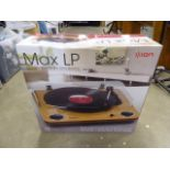 Ion max LP conversion turn table with stereo speakers in box