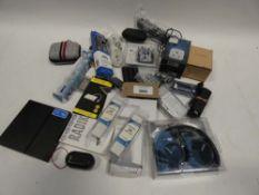 Bag containing remote controls, PC RAM, adapters, Sony headphones, wireless earphones etc