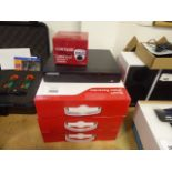Three boxed smart video recorders and a Defender security DVR recorder and spare camera