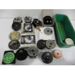 A collection of fly reels, spools, line etc including Pridex, Rimfly, KP Morritts & Shakespeare