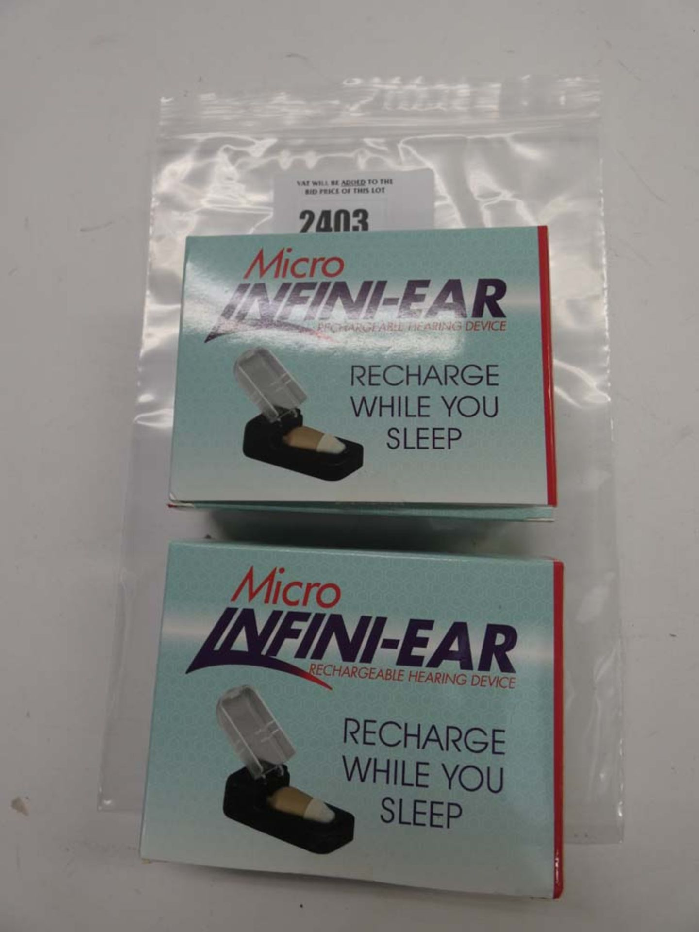 2x Micro Infini-Ear hearing aides