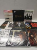Box containing quantity of LP and 45 records to include Linkin Park, Bob Dylan, Liam Gallagher,
