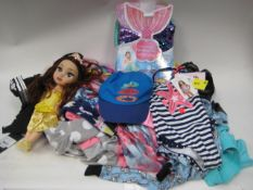 Bag of childrens clothing to include a Plush & Playful mermaids tail together with a doll, childrens