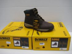 Two pairs of Dewalt industrial toe protector boots dark brown size 8