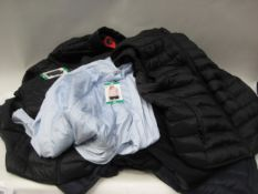 Bag containing 10 ladies and gents lightweight quilted jackets and gilets by 32 Degree Cool and