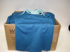 Box containing 72 Fila ladies mesh overlay tank tops in blue and turquoise sizes ranging from S-L