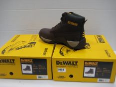 Two boxed pairs of Dewalt toe protector boots size 8 in dark brown